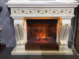 Custom Made Marble Fireplace Mantel Surrounding with Remote Control Insert