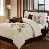 Home/Hotel Comforter Set Brown/White Color Embroidery 7PCS Bedding Set