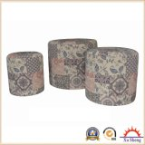 Set of 3 Wooden Round Linen Print Patterned Ottoman Foot Stool