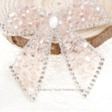 Customized 7cm Bling Diamond Motif Pink Butterfly Bow Rhinestone Badges Patches (HF-Pink Bow)