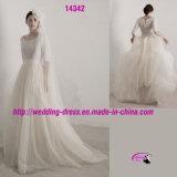 Pure White Round Neckline Bridal Dress Wedding with 1/2 Sleeve