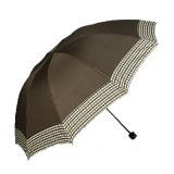 Manual Open Pure Color with Check Paste 3 Fold Umbrella