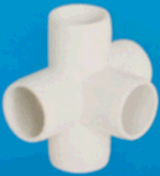 5 Way Connector Plastic / UPVC /PVC Raw Material ASTM Sch40 D2466 Standard White Colour