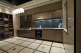 Brown High Gloss Polyurethane Handless Kitchen Design
