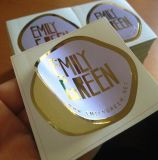 Matt Coated Paper Adhesive Label with Gold Foil Hot Stamping