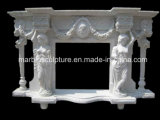 Lady Statue Carved Pure White Marble Fireplace (SY-MF193)
