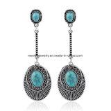 Retro Long Turquoise Oval Tassel Earrings European and American Fashion Jewelry
