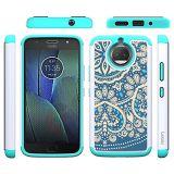 Moto G5s Plus Case Dual Layer Heavy Duty Protective Silicone Plastic Cover Case for Motorola Moto G5s Plus - Blue Flower