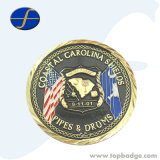 Custom Made Novelty Commemorative Epoxy Gold Plated Copper Coin