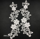White Flower Pairs Trims Foral Two Pieces for Jeans Trim 149