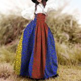 Newest High-Waisted Wax African Print Abstract Floral Paint Long Skirt