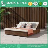 Outdoor Wicker Sunbed with Cushion Rattan Garden Daybed Patio Wicker Double-Bed Hotel Project Sunlounger Chaise Daybed