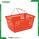 Grocery Store Plastic Shopping Basket with Steel Wire Handle