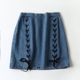 Swedish Order~ A-Line Mini Lace up Denim Skirt Jeans of Ladies Jeans
