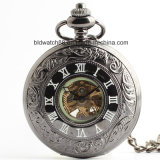 Top Quality Black Automatic Mechacial Pocket Watch with Chain