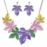 Fashion Metal Alloy Bohemia Colorful Leaves Statement Choker Necklace Earring Jewelry