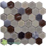 Hexagon Glass Mosaic Stainless Steel (TG-OWD-556)