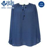 Dark-Blue Tether Round-Collar Long-Sleeve Elegant Blouse