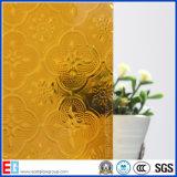 Amber Flora Pattern Glass/Rolled Glass/Art Glass/Decorative Glass