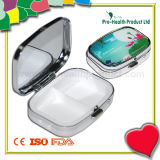 2 Cases Decorative Mini Metal Pill Box With Mirror
