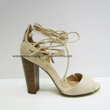 Chunky Heel Women Fashion Lady Sandals with Long Lace