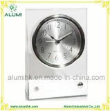 Table Clock Glass Body with Chrome Base Silent Alarm Clock