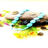Stablized Green Turquoise Wafer Beads Necklace