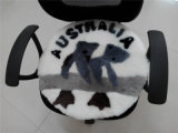 Round Sheepskin Seat Cushion with Koala Pattern