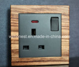 Square Button Leather Panel 13A Switched Socket