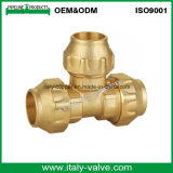 ISO9001 CE Certified Top Brass Compression End Tee for PE Pipe (IC-7013)