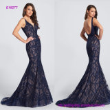 Sleeveless Hand-Beaded Lace Mermaid Evening Dress with Features Curved Deep V-Neckline and Low Scooped Back