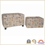 Round Upholstered Button Tufted Linen Ottoman Foot Rest for Living Room