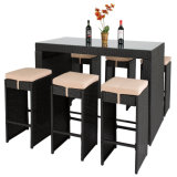 Durable Commercial KTV Combination Casual Furniture Tall Stool Rattan Bar Chair and Table Set