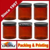 8 Oz Amber Brown Plastic Jars with Black Lids