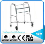 One-Button Folding Walker with 5′′ Castors