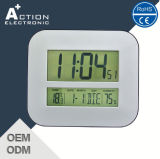 White Digital Wall Clock LED Display with Temp and Calendar