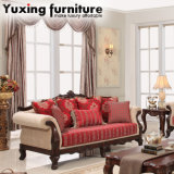 Antique Classical Fabric Sofa Set with Table Set for Living Room