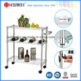 Multi-Functional Adjustable Chrome Metal Kitchen Trolley with Handle (1309320)