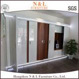 N&L Wooden Wardrobe Cabinet Closet with Sliding Mirror Wardrobe Doors