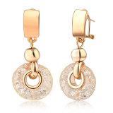 Gold Clip Women Fashion Alloy Crystal Mesh Drop Earring