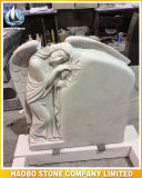Carved Angel Design Headstone White Marble