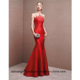 New Fashion Red Satin with Appliques Mermaid Prom Dresses
