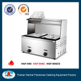 2-Tank 2-Basket Gas Fryer with Top Shelf (HGF-906C)