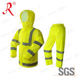 High Visibility Reflective PVC Workwear Raincoat with Hoody (QF-772)