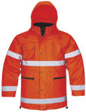High Visibility Parka Waterproof Clothing Safety Reflective Jacket (SPA03)