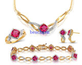 Fashion Ruby 925 Sterling Silver Jewellery Set (S3356)
