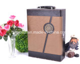 Two- Bottle Metal Lock Portable Leather Wine Boxes