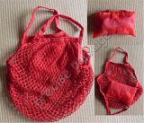 Red Foldable Cotton Mesh Shopping Bag (PRF-009)
