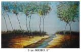 Handpainted River and Trees Oil Painting for Decoration (LH-700569)