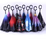 Windproof Reverse Umbrella Inverted Chuva C-Hook Umbrella, Umbrella with C Handle